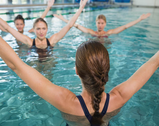 Women in pool doing aquafit